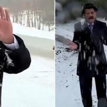 Синоптика закидали снежками во время репортажа