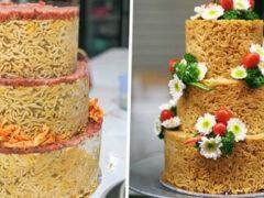 Пекарня предлагает клиентам несладкие торты, сделанные из лапши