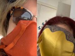 Женщина приспособила собственные лифчики в качестве защитных масок