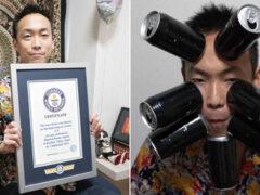 Сумев приклеить к своей голове 9 банок из-под напитков, мужчина стал рекордсменом