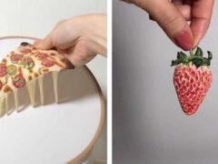 Реалистичная вышитая еда так и просится на тарелку